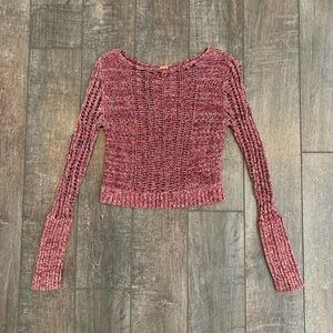 Free People Crochet/Knit Crop Sweater